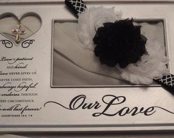 Black & White Triple Stack Shabby flower headband