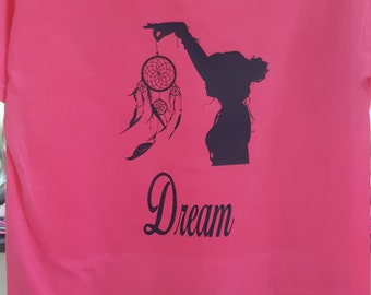 T Shirt with Girl Holding Dream Catcher