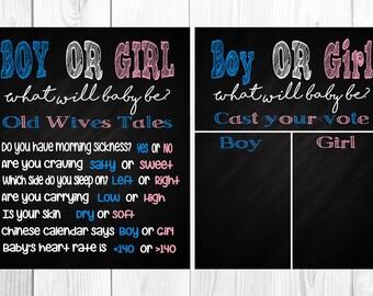 Gender Reveal Chalkboard Sign Gender Reveal Party Boy or Girl Cast Your Vote Sign Chalkboard Sign Pink or Blue Instant Download