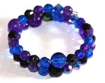 Purple, blue, black beaded bracelet - purple bracelet - blue bracelet - black bracelet