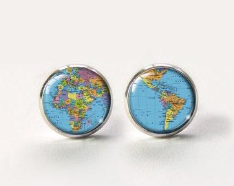 World Map Earrings,World Map Studs,Earth Earrings