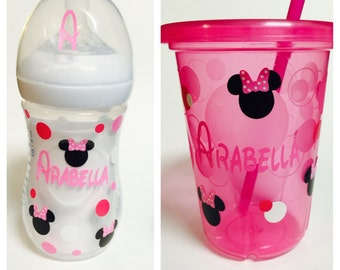 Minnie Mouse Vinyl-Personalized Baby Bottle- Kids Cup Decal-Snack Cup Decal- Sippy Cup Decal- School Name Labels- Daycare Name Labels-