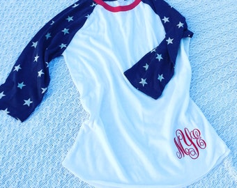 Monogrammed Star Baseball Tee- Embroidered Personalized 3/4 sleeve Baseball Tshirt