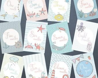 "Baby milestone cards ""Sea life"" / 1-12 months birthday photo props"