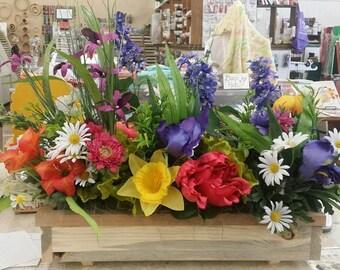 Silk flower arrangement Handmade wooden planter