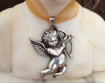 "Vintage Sterling Silver Angel-""Cupids Arrow""- Necklace"