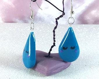 Teardrop earrings | Monday Blues - polymer clay earrings, sad tear, teardrop earrings, blue earrings