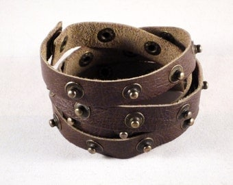 Handmade brown green leather wrap cuff bracelet with popper stud features