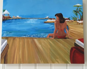 Holiday - original, contemporary, acrylic on canvas painting, woman, landscape