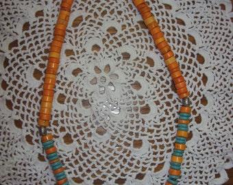 Orange Coral & Turquoise Necklace