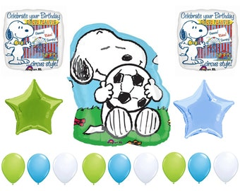 FAST SHIP Peanuts Snoopy Birthday Balloons Deluxe,  Snoopy Soccer Party Balloons,  Mylar Foil Latex Balloon, Snoopy Party Supplies
