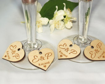 SET OF 10 Wedding wine charms-Wine charms-Wine glass charms-Wedding charms-Custom wine charms-wood wine charms-wedding favors-wedding charms