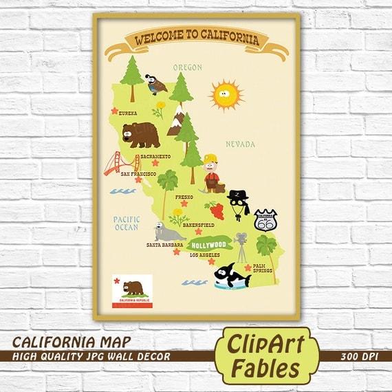 CALIFORNIA State Map Cute Kids Decor California Republic - Ca state map
