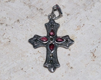 Vintage Silvertone Marcasite Cross pendant with purple colored stones