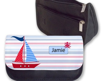 Personalised Cute Boat Sailing Pencil Case Make Up Bag Back To School