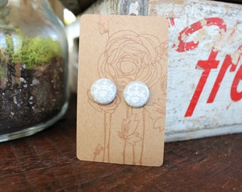 Fabric Button Earrings (pair)