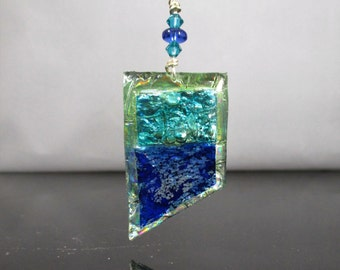 Recycled/Upcycled CD DVD Teal and Royal Blue Layered Pendant, CD Jewelry