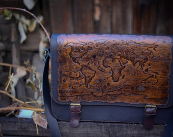 """Leather bag  """"World Map"""""""