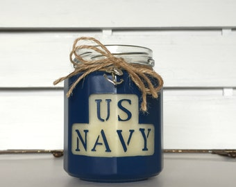 U.S. Navy 10oz Soy Candle - 100% Natural Soy Wax & Essential Oils