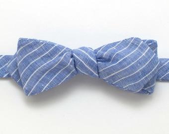 Cornflower Blue Pinstripe Linen Diamond Point Bow Tie