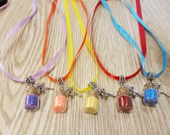 10 Powder Dust Necklaces with Fairy Charm
