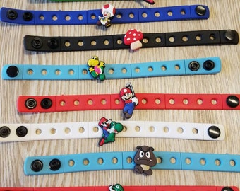 10 Mario Silicone Bracelets Party Favors