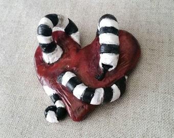 Heart & Worm Hand Sculpted Magnet
