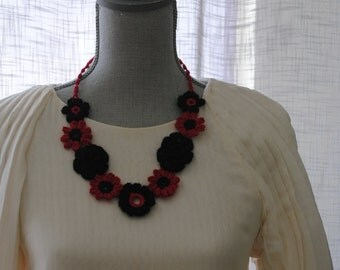 Hand crafted beautiful red and black necklace