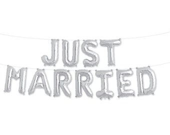 Just Married Balloon Banner, Silver, Just Married Garland, Newlyweds Party, Just Married Decor, Bride and Groom, Mr and Mrs, Wedding Decor