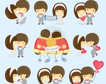 Cute Wedding Couple Clipart,cute couple clipart,wedding graphics,digital download