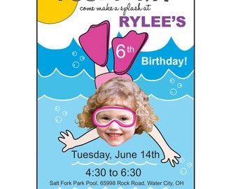 Pool Party Birthday Invitation, Custom Photo Pool Party Invitation, Boy or Girl Pool Party Invitation, Custom Pool Party Invitation, Pool