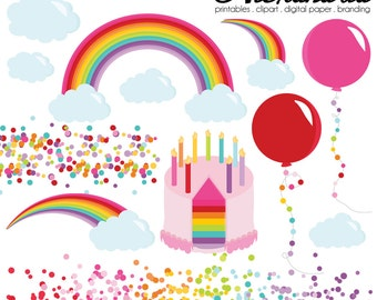 Rainbow Wishes Digital Clipart - Personal & Commercial Use - Birthday Party Clipart, Colorful Graphics, Confetti Images