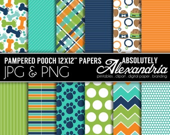 Pampered Pooch Digital Papers - Personal & Commercial Use - Puppy Paper, Dog Graphics, Patterns, Pet Scrapbook Page Kit