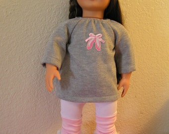 "Dance Costume for American Girls and 18"" Dolls, Sweatshirt, Tights, Hat, Legwarmers"