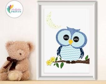 Blue Owl Nursery Print, Owl Print, Boys Bedroom Print, Boys Nursery Print, Blue Nursery Print, Baby Boys Print