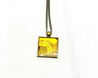 Orange Yellow Square Pendant