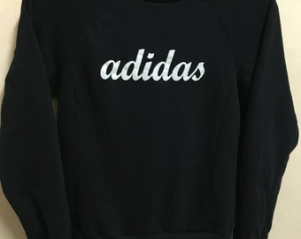 Vintage 90's Adidas Black 3 Stripes Sport Classic Design Skate Sweat Shirt Sweater Varsity Jacket Size S #A379