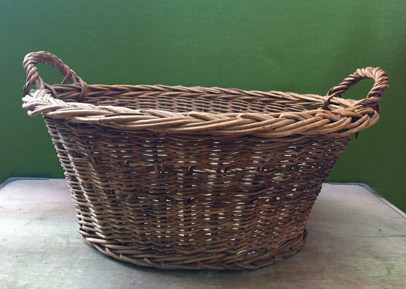 How To Weave A Basket Out Of Twigs : Vintage wicker gathering basket hand woven twig laundry