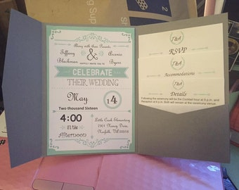Mint Green Wedding Invitation - Electronic File ONLY