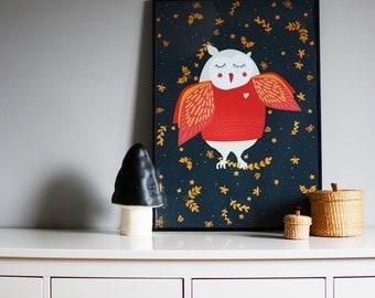 Owl kids poster - giclee print