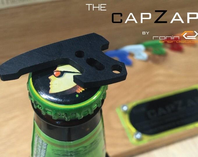 Stealth Black G10 Personalized Keyring Pistol Bottle Opener - EDC Gun Keychain Travel Tool, Star Lord, Gift for Him, Groom Gift, CapZap
