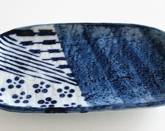Plate Cup rectangular Japanese ceramic plum blossom