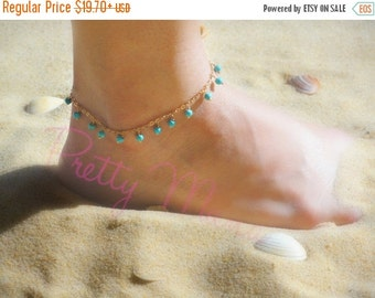 ON SALE, Gold Anklet, Turquoise Anklet, Gold Filled, Minimal Anklet, Beach Jewelry, Foot Jewelry, Fashion Jewelry, Ankle Bracelet, ATOP14
