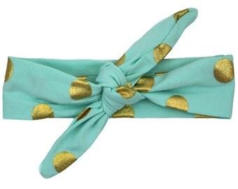 Teal & Gold Polka Dot Top Knot Headband