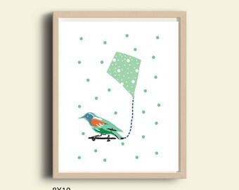 Bird prints, bird art print, bird printable, bird and a kite,  kids room decor, children art, kids gifts, animal print, bird art, 8X10 print