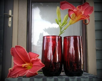 Two Royal Ruby Iced Tea Tumblers Anchor Hocking 1950's Red Glassware 13 Oz. Tall Drinking Glasses