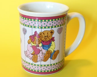Ganz, Bears, Cup, Mug, Hearts, Love, Jumbo Large Size, Ceramic, Vintage