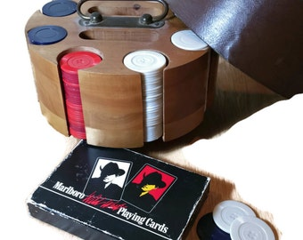 Vintage Poker Chips Caddy & Poker Chips and Cards Mid Century Poker Set Card Game Poker Chip Holder Man Cave Game Room Fathers Day
