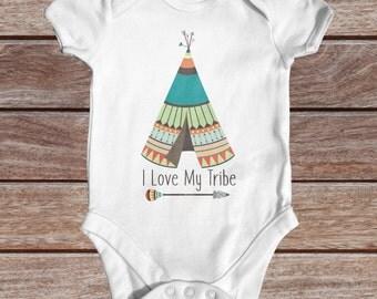 I Love My Tribe Bodysuit | Cute Baby Clothes | Tribal Baby Bodysuit | Cute Baby Clothes | Boho Baby Clothes | Wild Baby Bodysuit | Newborn