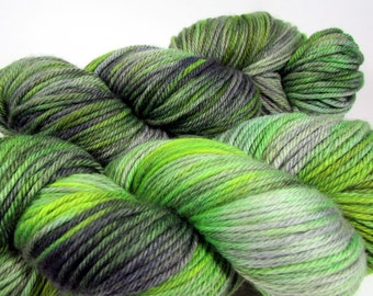 Zombie Hand Dyed Yarn. Worsted Weight. Superwash Merino Wool. Green & Gray. Indie Dyed. Dyed to Order.